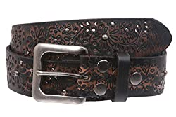 Snap On Embossed Vintage Cowhide Full Grain Leather Floral Rivet Perforated Belt Size: 38 Color: Black/Brown