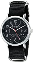 SO & CO New York Men's 5002A.2 SoHo Quartz Black Luminous Dial Black Canvas Watch