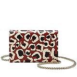 Gucci Red Leopard Print Leather Chain Cross Body Clutch Bag 354697