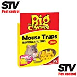 THE BIG CHEESE Professional Strength Baited Ready To Use Traditional style Mouse Trap - Twin Pack STV100