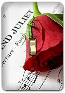 Red Rose Music Design Metal Light Switch Plate Cover Single Home Decor 346