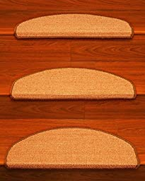 Images Euro Sisal Carpet Stair Treads 9.5-inch x 25.5-inch Perfect for Pets Double Sided Tape Included for Easy Installation, Set of 13 Naturally Durable and Anti Static