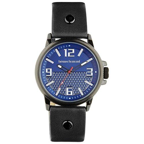 Bruno Banani Men's Watch Prios Silver Trend Fashion Strap Quartz Blue Dial Blue Leather Watch UBR30027