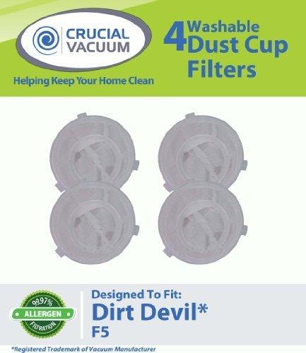 4 Dirt Devil F5 Replacement Filters Fit Dirt Devil Scorpion Hand Vacs Models 08200, 8201, 08210, 08215X & More, Replaces Dirt Devil Part # 3-DEA950-001 (3DEA950001), Designed & Engineered By Crucial Vacuum (Scorpion Quick Flip Hand Vac compare prices)