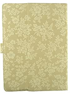 Emartbuy® Universal Range Beige Vintage Floral Multi Angle Executive Folio Wallet Case Cover For Wishtel Ira Icon 3G 7 Inch Tablet