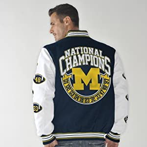 Michigan Wolverines Box and 1 NCAA Champs Commemorative Canvas Jacket by G-III Sports