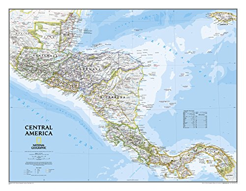 National Geographic - Central America Classic Map Laminated Poster by National Geographic 29 x 22in (Central America Poster compare prices)