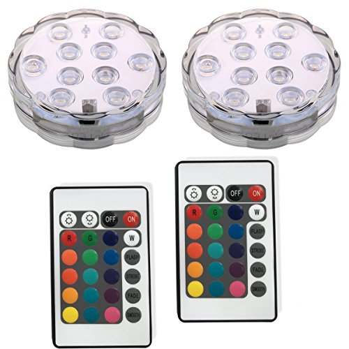 Remote Controlled Battery Operated Wireless Multicolor Waterproof Underwater Submersible Led Lights for Aquarium Vase Pond Party Wedding Christmas Halloween Holiday Home Lighting,Set of 2 (Single Color Led Christmas Lights compare prices)