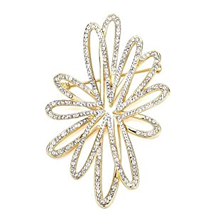 Pugster Shinning Clear Crystal Art Crosswire Floral Golden Brooches And Pins