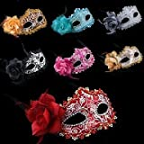 TY The Side Rose Princess Leather Mask for Halloween(multi-color)(1 Pc) , Black