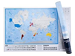 [Premium Scratch Off Map] World Awaits Travel Poster 24 x 36 Beautiful Graphics USA states CANADA provinces & BONUS 267 Scratchable World Country US State & Canadian Province Flags! Largest on Amazon!