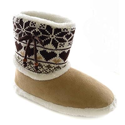 Womens/Ladies Knitted Fairisle Heart Panel Slipper Boots