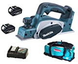 Makita 18V LXT BKP180 BKP180Z BKP180Rfe Planer, 2 X BL1830 Batteries, DC18RC Charger And DK18027 Bag