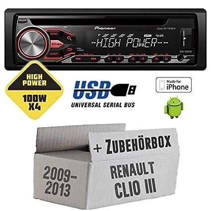 Renault Clio 3 FL - Pioneer DEH-4800FD - HighPower 4x100 Watt CD/MP3/USB Autoradio - Einbauset