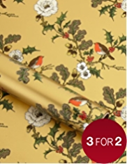 Gold Robin & Holly Christmas Wrapping Paper