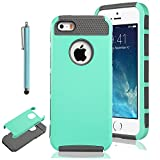 iPhone 5S Case, Pandamimi ULAK Aqua Fashion Case for iPhone 5 5S TPU + PC 2-Piece Style Soft Hard Cover with Free Screen Protector and Stylus