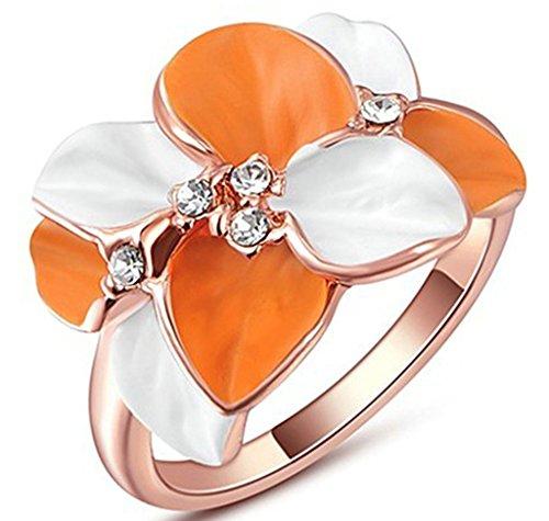 alimab gioielli anelli-Fedine placcato oro 18K cristallo austriaco colorato petali di Rosa Oro Rosa, Lega, 17, colore: oro rosa, cod. xxjiezhityix1157