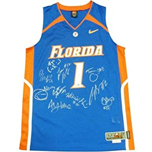 2007 Florida Gators Team Autographed Florida Gators (Blue #1) Jersey by PalmBeachAutographs.com