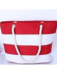 Mutifunctional Handbags Casual Canvas Striped Shoulder Bags Large Shopping Bag Priting Lunch Bag Beach Bag Feminina Bolsas