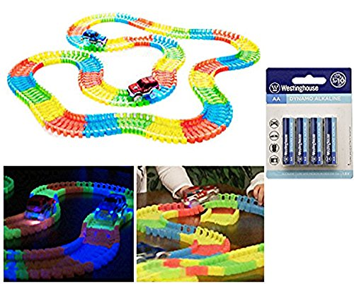 266 Piece Glow in the Dark Bend-A Path Flexible Track Playset for Kids, 2 SUV Cars & 2 AA Batteries Included,1 Carry Bag & 1 Bonus 4 Pack AA Batteries (Top Cars compare prices)