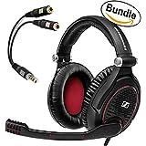 Sennheiser GAME ZERO PC Gaming Headphone 506079 (Black) & Sennheiser PCV 05 Combo Audio Adapter - Bundle (Color: Black)