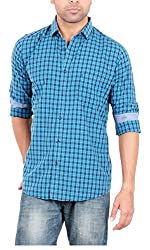 EASIES Men's Casual Shirt (81408 UTICA E702UASFFSSC CHKTLNVY_XL, Blue, X-Large)