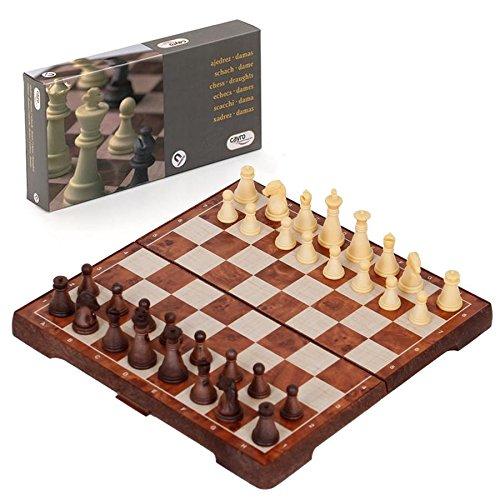 Double Jeu d'échecs dames Jeux de société coffret de voyage aimanté magnétique