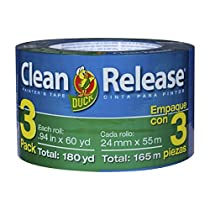 Duck Brand 240180 Clean Release Painter's Tape, 0.94 Inches by 60 Yards, Blue, 3-Pack of Rolls