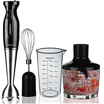 Ovente 2Speed 300 Watts 3-in-1 Immersion Hand Blender with Beaker, Whisk Attachment and Food Chopper, Robust Stainless Steel, Black (HS585B)