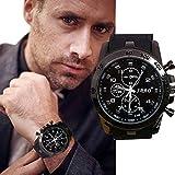 Transer Mode en acier inoxydable de luxe Sport Quartz Analogique Moderne Hommes Mode montre-bracelet Noir (Noir)