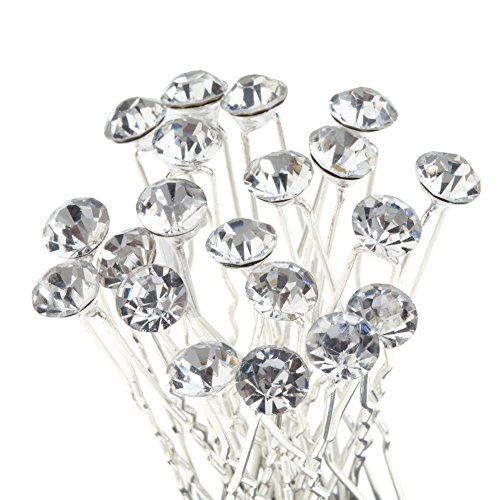 Best Quality Set of 20pcs Hair Pins / Slides / Barrettes / Wedding Brides Hairstyles Decorations With Silver Needles And Clear Rhinestones Crystals Gemstones By VAGA®