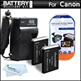 2 Pack Battery And Charger Kit For Canon PowerShot SX260 HS, SX260HS, Canon SX280 HS, SX500 IS, SX510 HS, SX510HS, SX520 HS, SX170 IS, S120, SX600 HS, SX700 HS, D30 Digital Camera Includes 2 Extended Replacement (1200Mah) NB-6L Batteries + Ac/Dc Charger +
