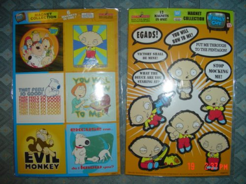 Family Guy Tv Show Magnet Collection Set of 2 Cards ( 18 Magnets Total) - Buy Family Guy Tv Show Magnet Collection Set of 2 Cards ( 18 Magnets Total) - Purchase Family Guy Tv Show Magnet Collection Set of 2 Cards ( 18 Magnets Total) (Hot Properties, INC., Toys & Games,Categories,Activities & Amusements)