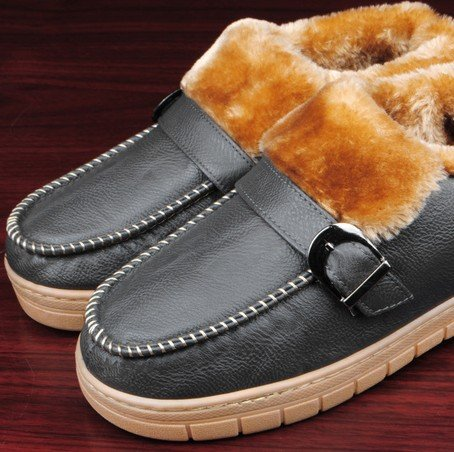 Winter Men Cotton Slippers/Cute Home Flange Antiskid Warm Shoes (L, Grey)