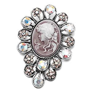 Pugster Classic Antique Lady Maiden Profile Flower Brown Beauty Cameo Light Colorado Topaz Floral Topaz Yellow Swarovski Crystal Diamond Accent Brooches Pins