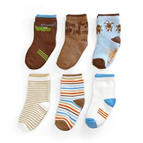 Carter's 6 Pack Boys Monkey Comfy Fit Socks - Blue, 12-24 Months
