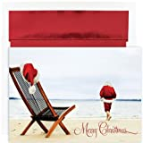 Santa On Beach Christmas Cards
