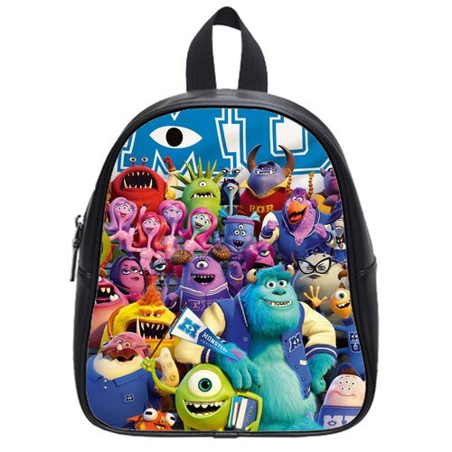 Generic Custom Cute Disney Monsters University Roles Printed Black School Bag Backpack Fit Short Trip Pu Leather Small front-1046642
