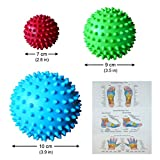 Massage Ball for Foot Hand Back Neck Muscles Relief - 3 Best Spiky Balls to Relieve Pain, Improve Flexibility Mobility and Circulation - Remove Muscle Aches with Free Reflexology Charts - Inflatable