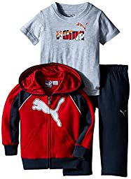 PUMA Baby-Boys Reflective Cat Full Zip Hoodie with Matching Pant and No. 1 Logo Tee, Scooter Red, 18 Months