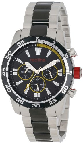 Red Line Men's Cruiser 45mm Chronograph Steel IP Steel Bracelet & Case Quartz Black Dial Watch 60011
