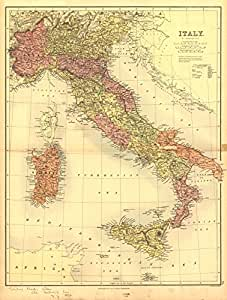 Amazon.com: 1890 Old Historical Map of Italy Sicily Sardinia and Rome