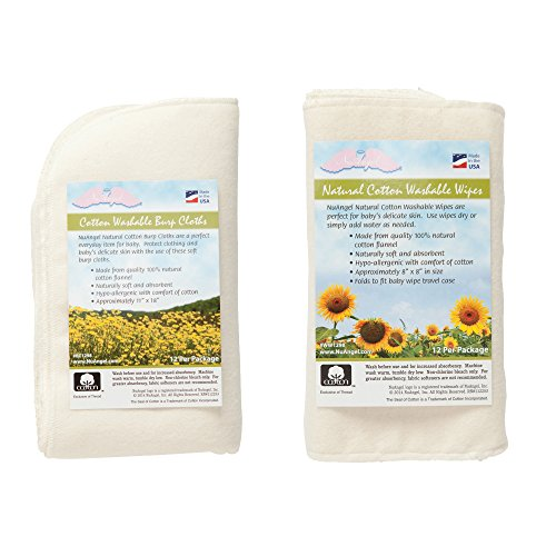 NuAngel All-Natural Single Layer Cotton Burp Cloths and All-Natural Washable Cotton Wipes Set