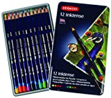 Derwent Inktense Pencils, 4mm Core, Metal Tin, 12 Count (0700928)