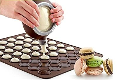 Drhob Large 30 Macarons/Muffins Silicone Baking Pastry Sheet Mat Cup Cake Mold Tray (Color: Chocolate)