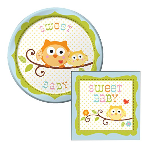 Happy Tree Sweet Baby Boy Themed Dessert Napkins & Plates Party Kit for 8