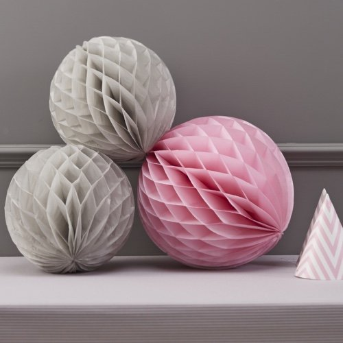 Ginger Ray Chevron Divine Honeycomb Balls Hanging Party Decoration, Grey/Pink