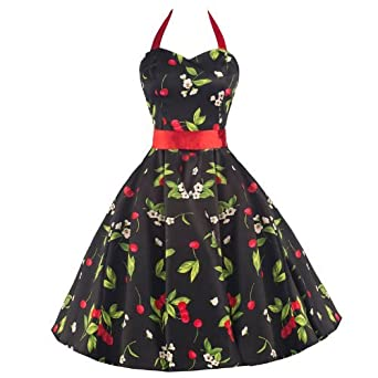 Cherry Rockabilly 50s Pin-Up Prom Swing Dress xs 8