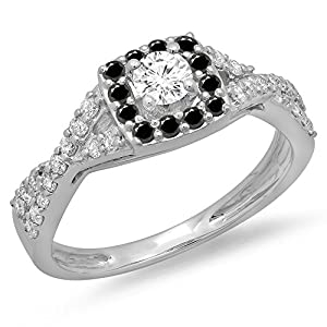 0.75 Carat (ctw) 14K White Gold Black & White Diamond Swirl Halo Engagement Ring 3/4 CT (Size 5.5)