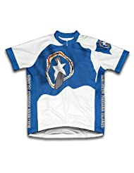 Northern Mariana Islands Flag Short Sleeve Cycling Jersey for Women